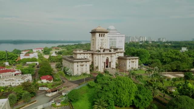 Sunrise aerial view of Johor Bahru city, Malaysia Sultan Ibrahim Building aerial view johor bahru stock videos & royalty-free footage