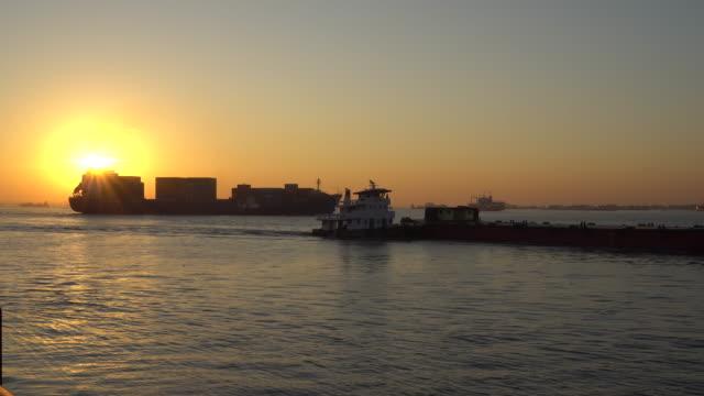 Sunrise and Cargo ship video