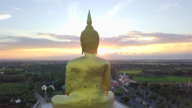 Sunrise at Big buddha  Wat Muang, Ang Thong Province, Thailand video