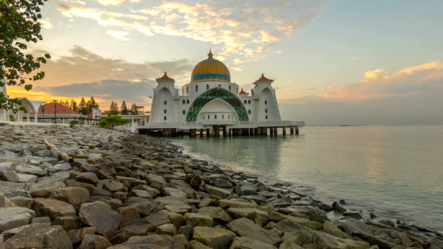 Sunrise At Malacca Straits Floating Mosque, or Masjid Selat video