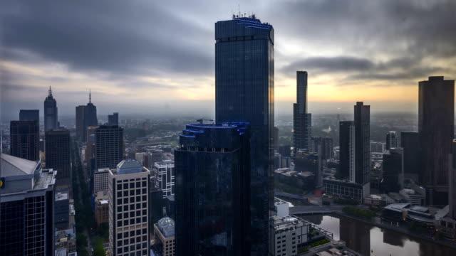Sunrise at Melbourne City Skyline. 4k Time lapse. video