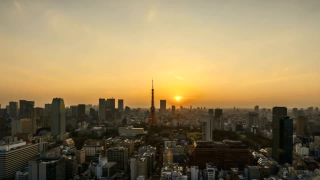Sunrise at Tokyo city skyline video