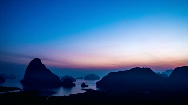 T/L TU Sunrise at view point of island in the sea,Samet Nang She, Phang-Nga Bay, Thailand video