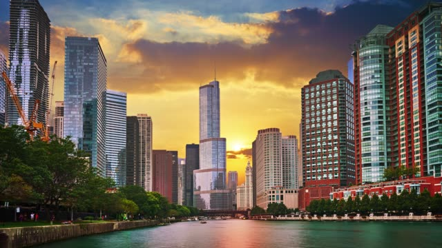 Sunrise Chicago city Cityscape. Shot in 8K Super UHD chicago stock videos & royalty-free footage