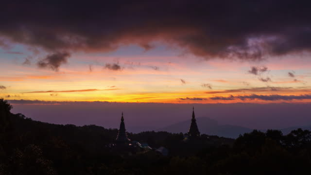 Sunrise cloudy movement over The Great Holy Relics Pagoda in Himalayan mountain range in Chiang mai,Thailand. video