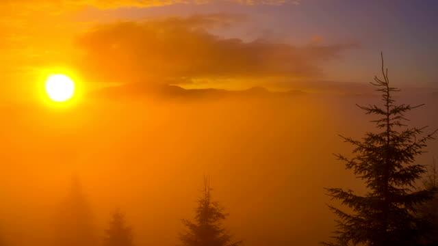 Sunrise in Carpathian Mountains. video