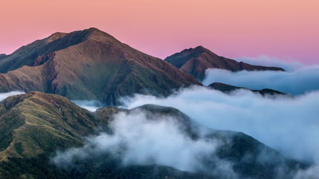 sunrise in mountains nature above clouds in new zealand landscape time lapse - trees in mist stock videos & royalty-free footage
