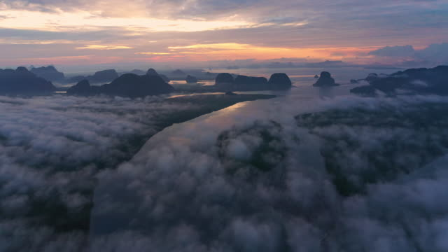 Sunrise Landscape Aerial View a misty on morning at  Phang-nga Bay