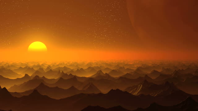 Sunrise on an alien planet and a huge moon video