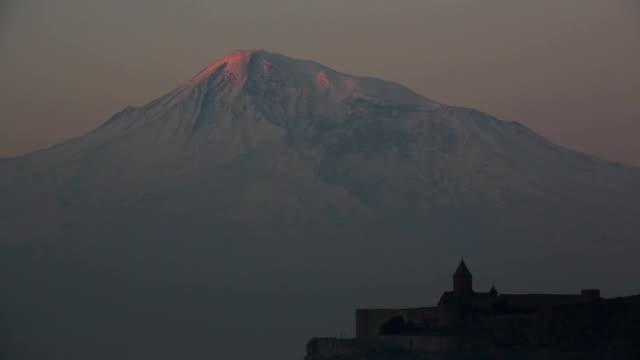 Sunrise on Ararat Mountain and Khor Virap Monastery video