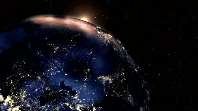 Sunrise on Earth from Space Seen from Space video