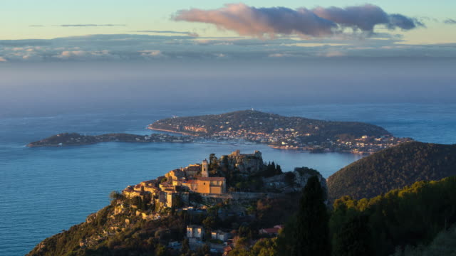 Sunrise on hilltop village of Eze, Saint-Jean-Cap-Ferrat. French Riviera, Cote d'Azur, France - vídeo