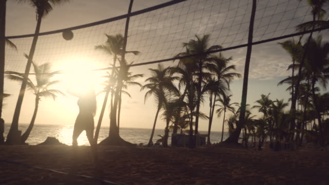 Sunrise on tropical beach, friends playing beach volleyball Sunrise on tropical beach, friends playing beach volleyball beach volleyball stock videos & royalty-free footage