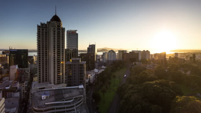 Sunrise Over Auckland City Centre and Albert Park - Time Lapse video