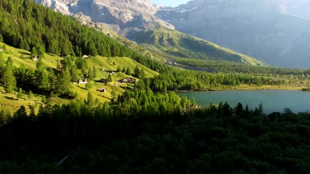 stockvideo's en b-roll-footage met sunrise over derborence lake, valais, switzerland - wallis