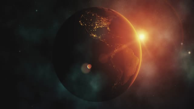 Sunrise over Earth from space with star background video