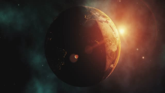 sunrise over earth from space with star background - earth day stock videos & royalty-free footage
