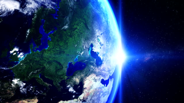 Sunrise over Europe from space Sunrise over Europe from space. chance stock videos & royalty-free footage