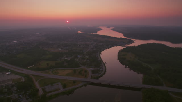 AERIAL Sunrise over Gatineau River flowing into Ottawa River in Gatineau, Quebec