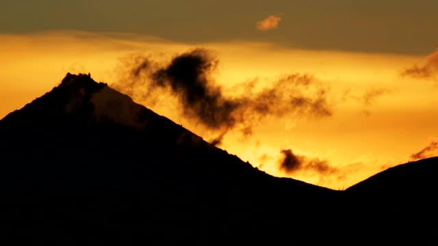 Sunrise over Kluchevskaya group of volcanoes video