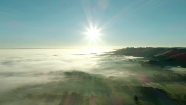 sunrise over misty south downs from drone 4k - south downs video stock e b–roll