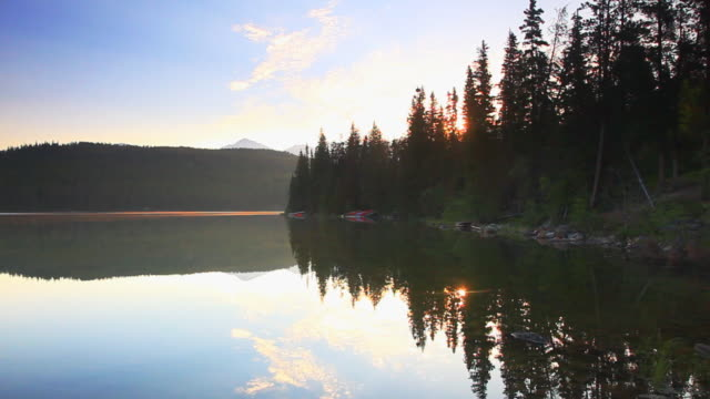 Sunrise over mountain lake video