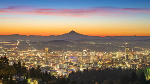 Sunrise over Mt Hood and Portland downtown