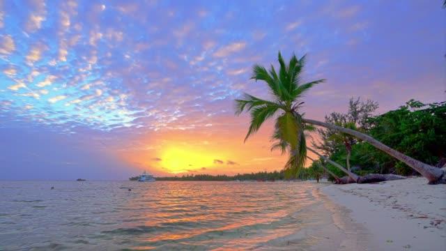 Sunrise over ocean beach in Dominican Republic