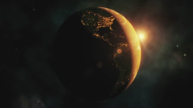 Sunrise over Planet Earth from space with galaxy star video
