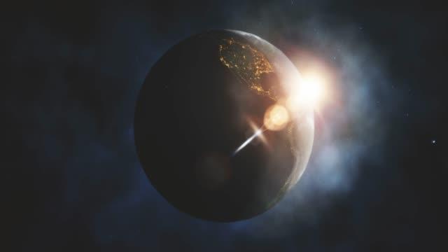 Sonnenaufgang über dem Planeten Erde aus dem All mit Galaxienstern – Video