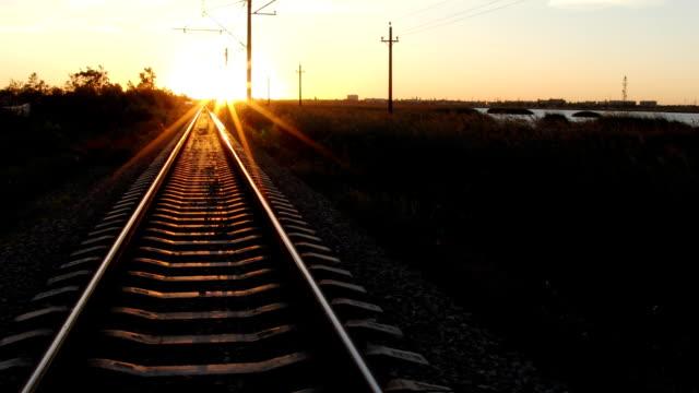 Sunrise over railway video