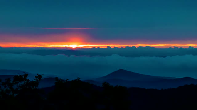 Sunrise Over the Appalachian Horizon Covered by Fast Moving Clouds video