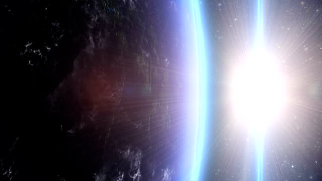 Sunrise over the earth from space video