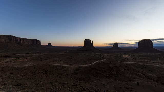 Sunrise over the impressive rock formations of Monument valley
