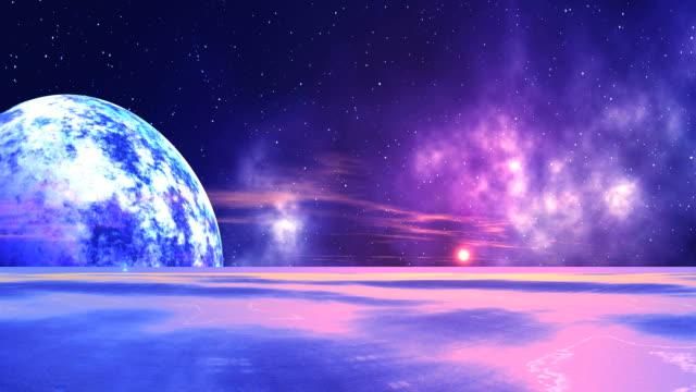 alba sul pianeta nebbioso - personaggio fantastico video stock e b–roll