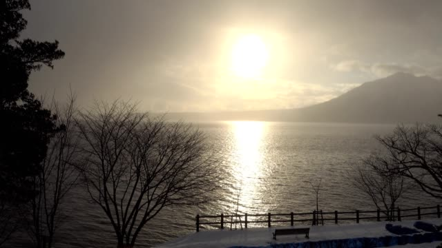 sunrise over the waving lake with snow falling in winter and silhouette trees and bench - bench stock videos & royalty-free footage