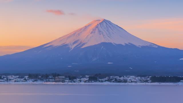 日の出シーン山富士冬のシーズン、日本 - 富士山点の映像素材/bロール