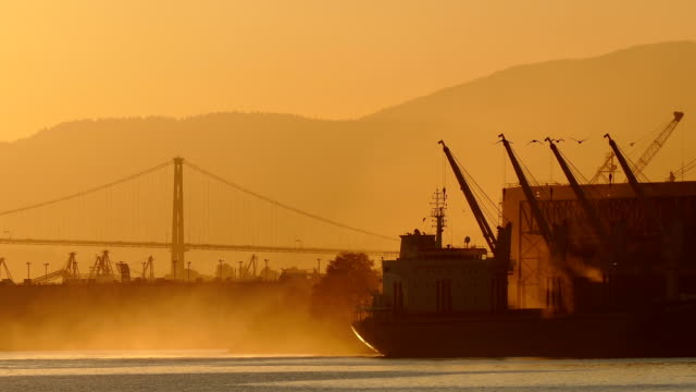 Sunrise Scene Of Ship In The Bay video