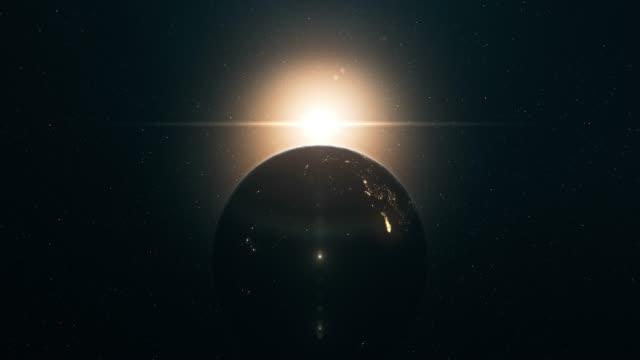 sol uppgång sett från yttre rymden (vertikal rörelse) - earth from space bildbanksvideor och videomaterial från bakom kulisserna