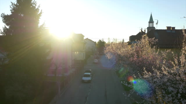 AERIAL: Sunrise sun shining over the roofs in blooming suburbia video