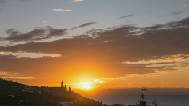 Sunrise time lapse, Mediterranean Sea, Cervo historical town, Liguria, Italy video