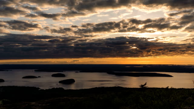 Sunrise time lapse of cloudscape in the Acadia National Park video