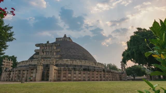 sunrise time lapse sanchi stupa, madhya pradesh, india - madhya pradesh filmów i materiałów b-roll