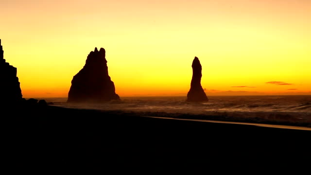 Sunrise up at Black sand Reynisfjara Beach video