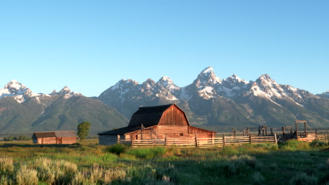 sunrise wide pan of a mormon row barn and grand teton mountain - ranch video stock e b–roll