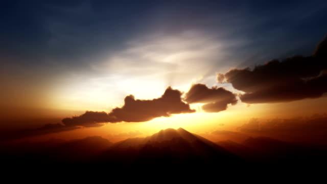 sunrise/sunset over mountain top video
