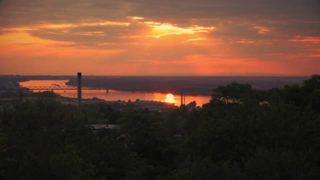 Sunset above the river Danube in Belgrade, Time Lapse video