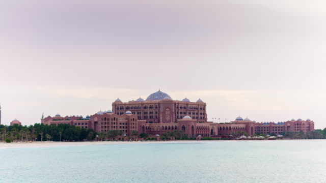 sunset abu dhabi famous emirates palace hotel bay panorama 4k time lapse uae video