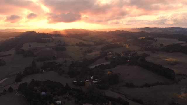 Sunset aerial farmland agriculture rural country Australia video