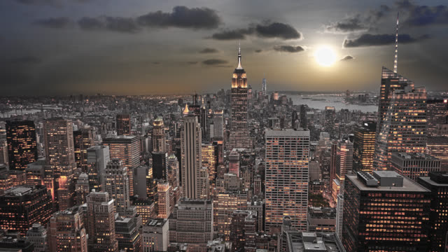 Sunset Aerial New York Cityscape wide angle stock videos & royalty-free footage